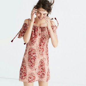 Madewell Silk Cold Shoulder Paisley Mini Dress